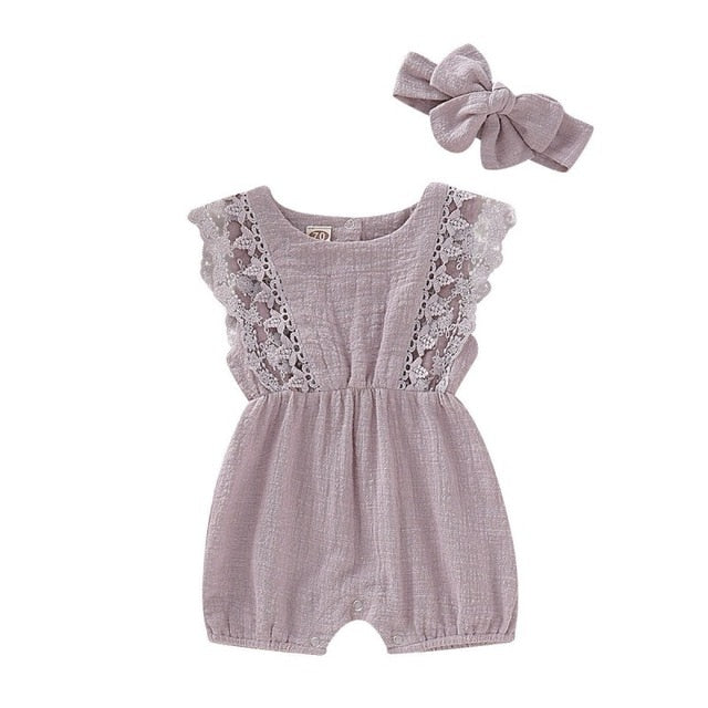newness Baby Clothes Toddler Sleeve Solid Lace  Design Romper Jumpsuit With Headband One-Pieces Vendor
