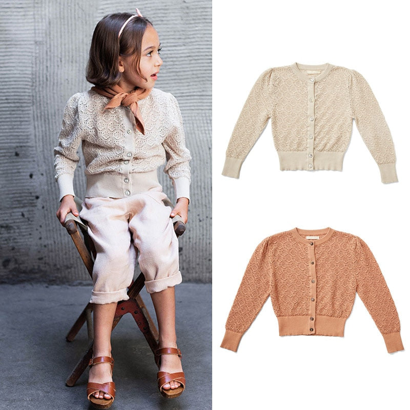 2021 New Spring Kids Sweater For Girls Knitted Lace Cardigan Clothes Wholesale - PrettyKid
