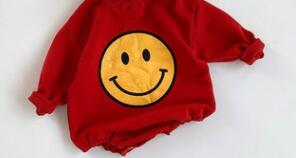 2021 baby Cute bodysuit sports style baby boys clothes big smile face infant girls clothes baby Supplier