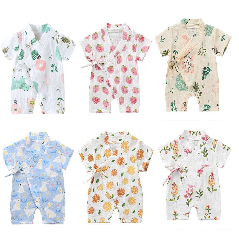 Baby Girl Boys baby grows Jumpsuit Short-sleeved Floral Print Cute Infant Baby playwear wholesale - PrettyKid