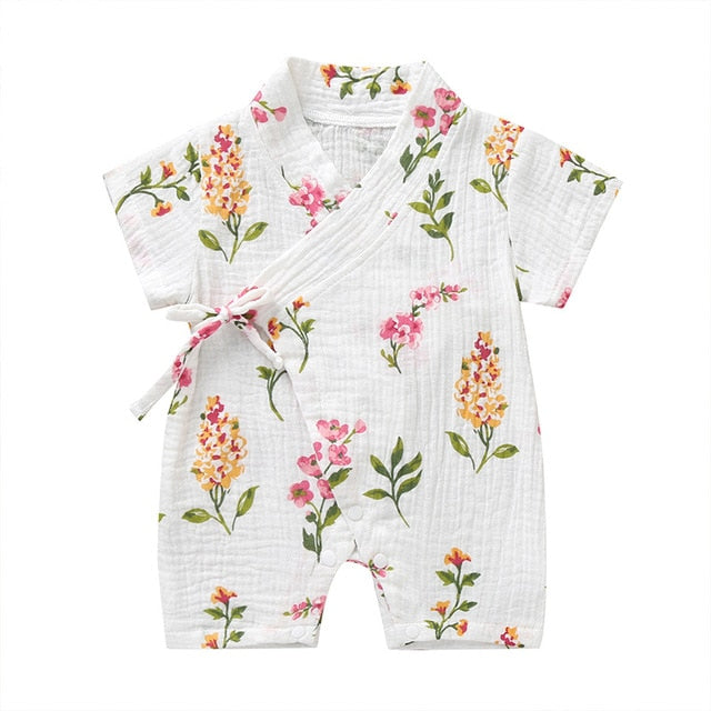 Baby Girl Boys baby grows  Jumpsuit Short-sleeved Floral Print  Cute Infant Baby playwear wholesale