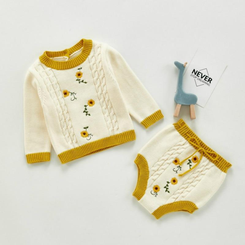 Winter Baby Girl Cotton Knitted Sweater Shorts Suit newborn baby girl clothes Wholesale