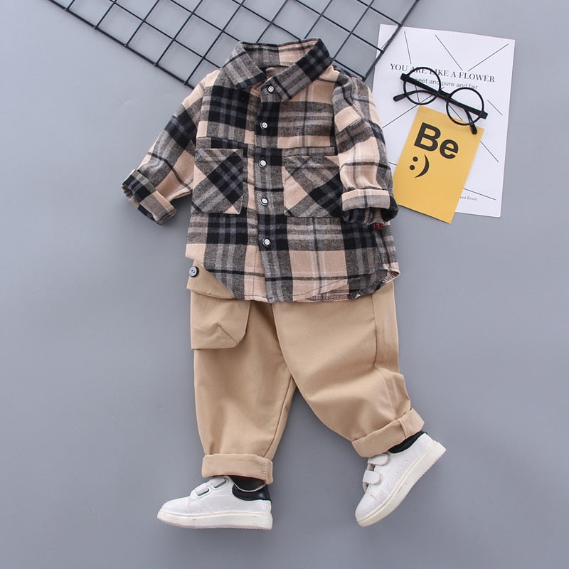 Fashion Spring Baby Boy Formal Clothing Set Kid Suits Set Plaid Shirt Pants 2pac/set Children Clothes Set Wholesale - PrettyKid