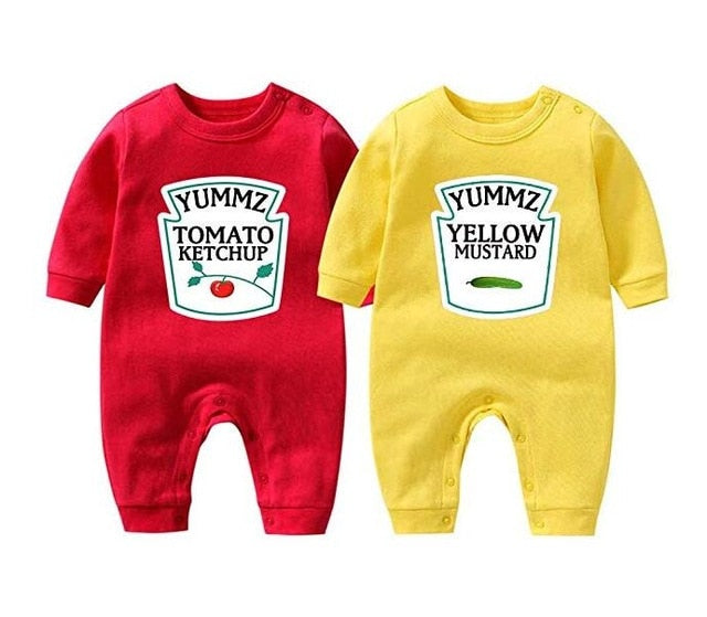 Cute Baby Bodysuit Yummz Tomato Ketchup Mustard Twins Set Boys Girls Clothes Twins Baby Outfits Vendor
