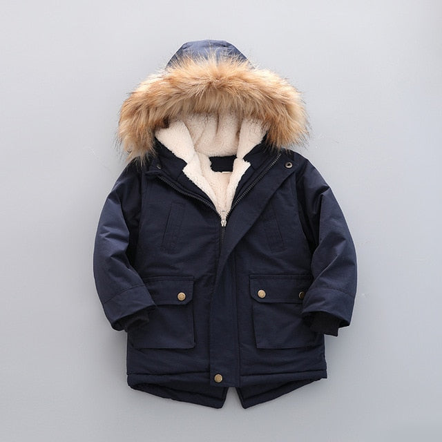 Children Winter Boys Hooded Warm apparel Casual Baby Boy girls Velvet Coats Clothing Supplier