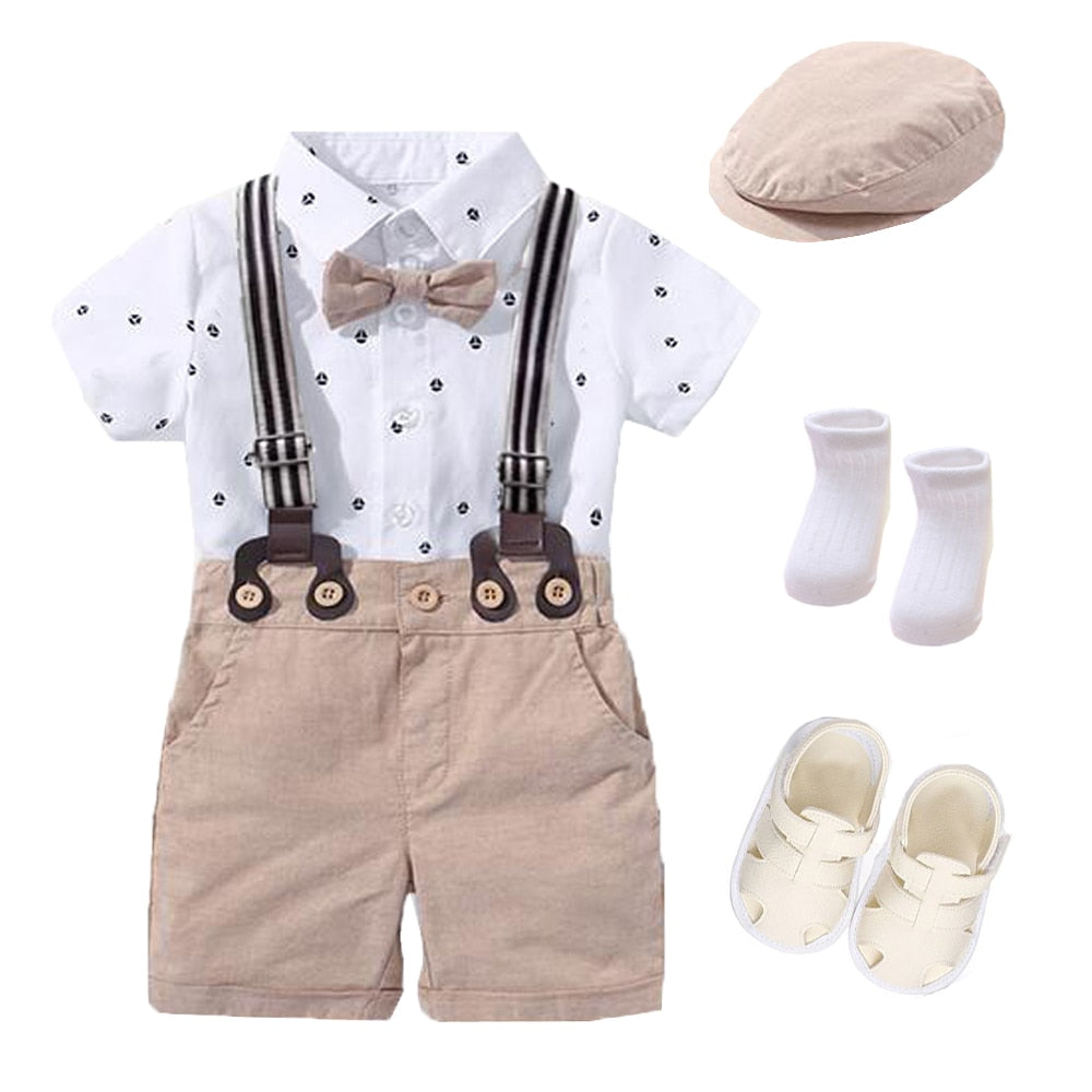 Baby Boy Western Romper Clothing Set Bow Suit Newborn 1th Birthday Gift Hat Rompers Belt Infant Children Outfit Clothes Wholesale - PrettyKid