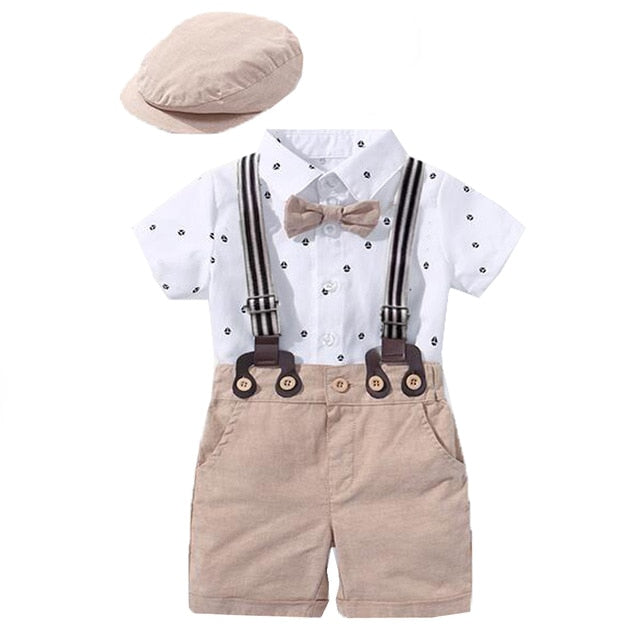 Baby Boy Western Romper Clothing Set Bow Suit Newborn 1th Birthday Gift Hat Rompers Belt Infant Children Outfit Clothes Wholesale