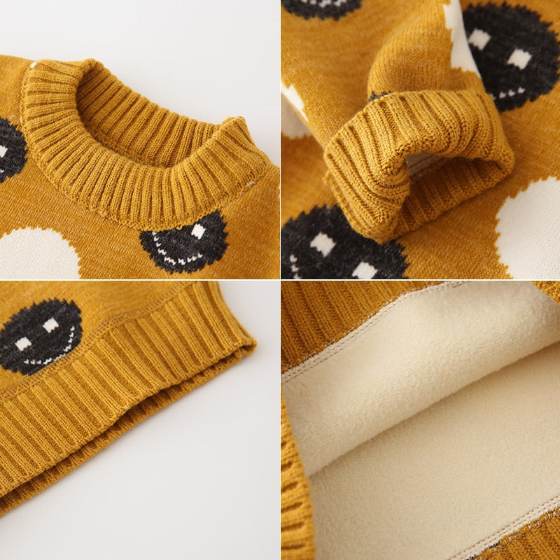 Sweater Baby Autumn 2020 new boys sweater Smiley Plus velvet knitted  sweaters kids toddler cute kawaii cotton winter oversized