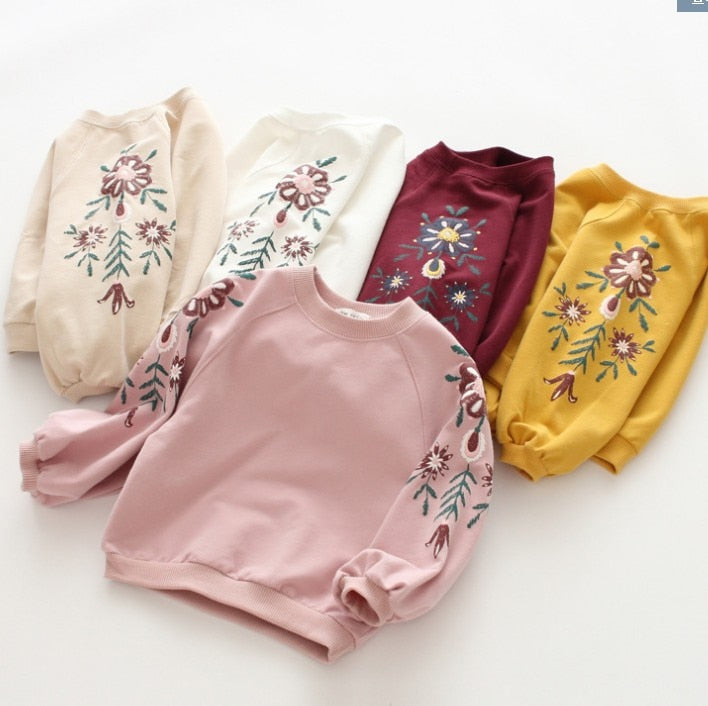 2021 Spring New Children's Clothing Girls Retro Printed Embroidery Flowers Vendor - PrettyKid