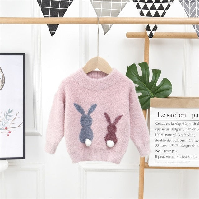 Fashion Children's Sweater 2 to 8 Years Baby Girls Winter Clothes Cute Cartoon Rabbit Sweaters Wholesale