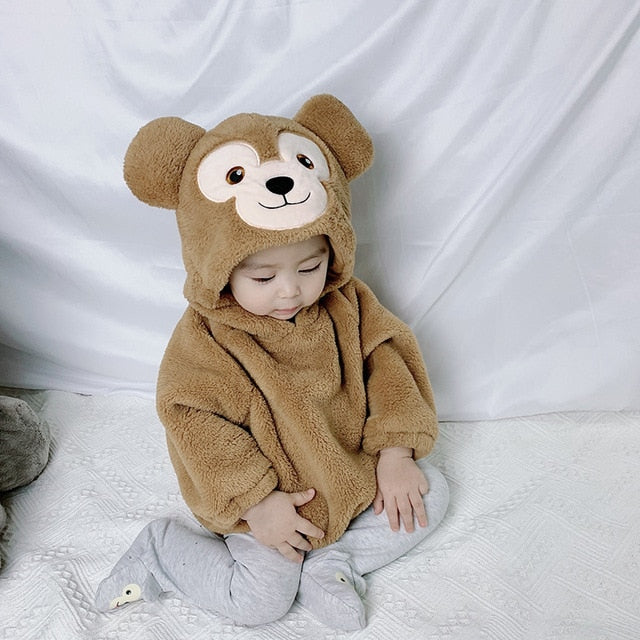 Cute Infant Baby Costume Romper Onesie Winter Newborn Baby Clothes Soft Green Rabbit PIG Cute Flannel Toddler Outfit Online Wholesale