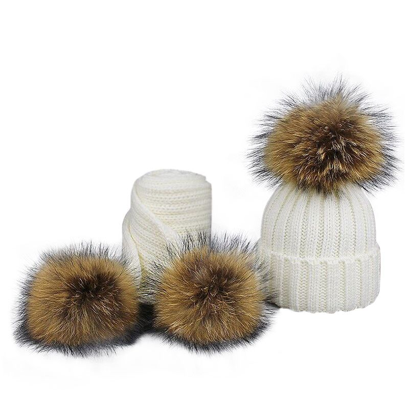 Fashion Boys and Girls Hat Set Winter Warm Knitted Bobble Fur Pompom Children Hat and Scarf Suit Manufactuer - PrettyKid