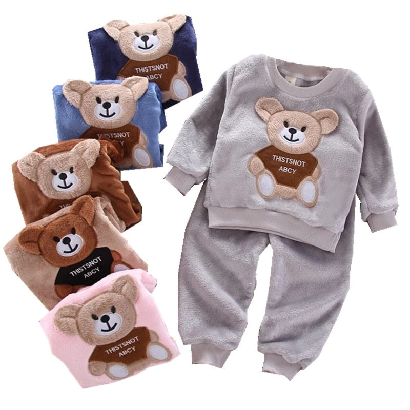 Cute Winter Flannel Pajamas Newborn Clothes Baby Boy Clothes Set For Toddler Plush Suit Casual Kids Loungewear Wholesale - PrettyKid