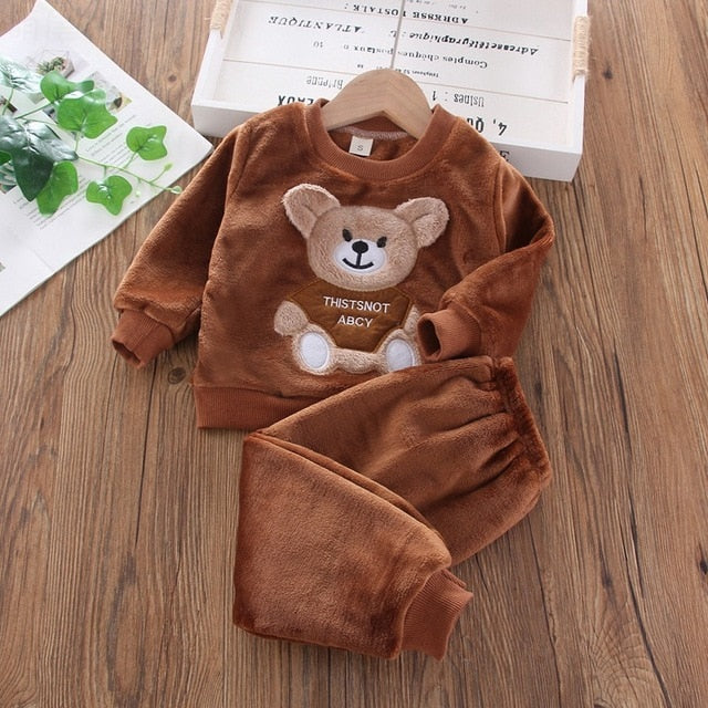 Cute Winter Flannel Pajamas Newborn Clothes Baby Boy Clothes Set For Toddler Plush Suit Casual Kids Loungewear Wholesale