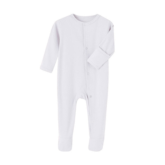 Organic Cotton Baby Rompers Winter Jumpsuit Infant Footies Solid Color Cloth Vendor