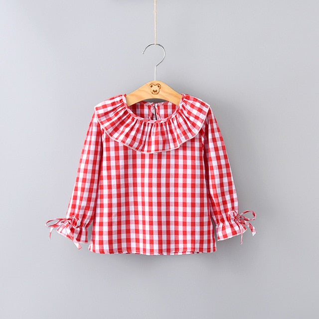2020 Spring Baby Girls Full Sleeve Blouse Plaid Ruffles Collar Shirt for children girl - PrettyKid