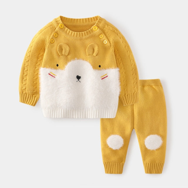 Cartoon Cotton Knitted Newborn Clothes Winter Baby Boy Girl Sweater Sets Supplier - PrettyKid