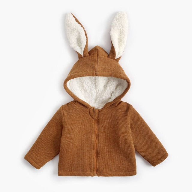 Infant Baby Girls Winter Jacket Children Rabbit Ear Fleece For Boy Warm Knitted Sweater Kids Coat Wholesale