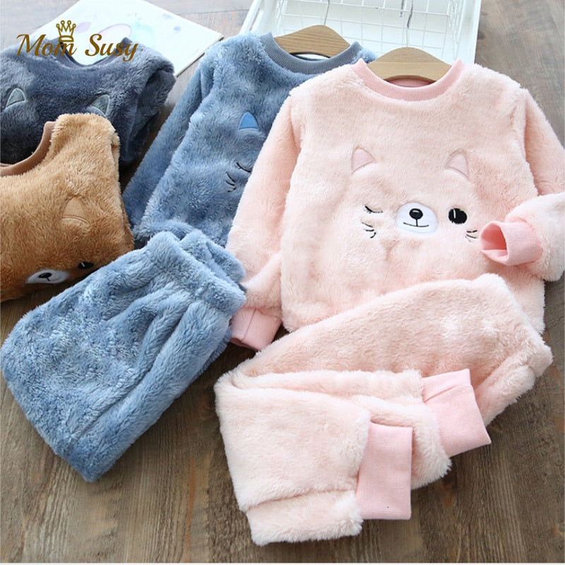 Baby Boy Girl Clothes Pajamas Set Catoon Bear Winter Sleepwear Kids Imported Wholesale - PrettyKid