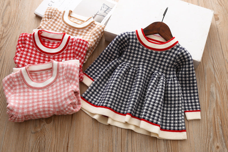 2021 wholesale Baby Girls Winter Plaid Sweater Dresses Clothes Children Kids Autumn Spring Clothing
