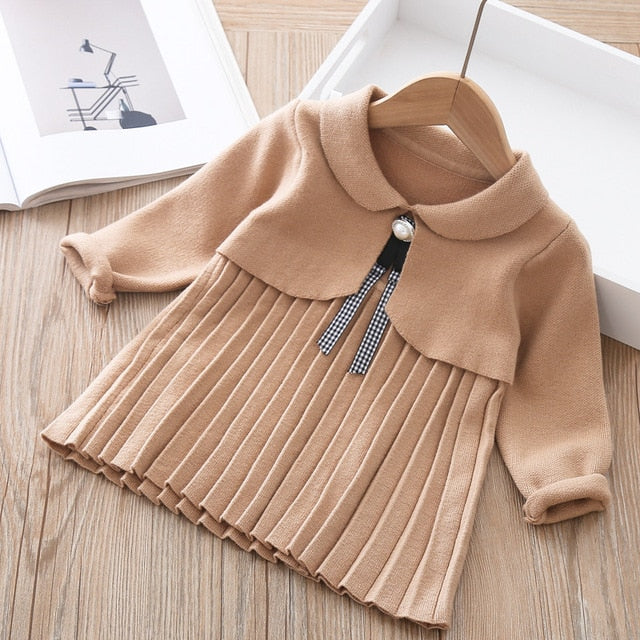 2021 Girls Knitted dress Clothing Spring Kids Clothes Sweater 1-5year Wholesale - PrettyKid