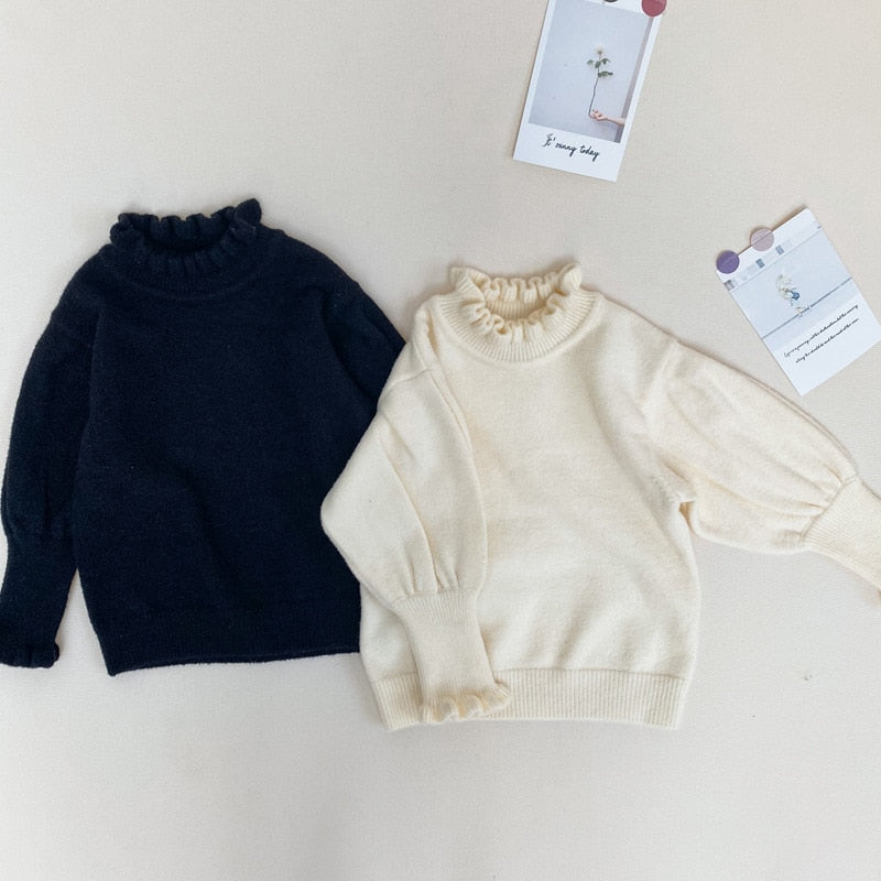 Baby Girls Sweaters Kids Solid Sweaters Clothes Kids Winter Knitted Girls Sleeve Sweaters Distributor - PrettyKid