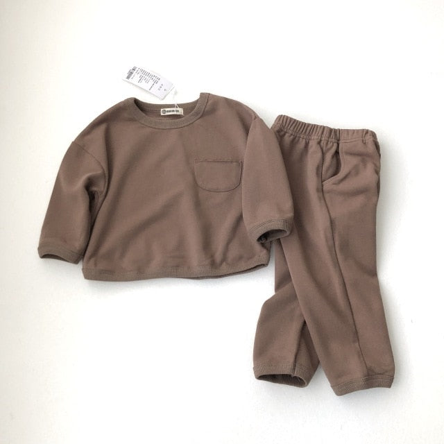 Stylish Children Suit Boys And Girls Long Sleeve Organic Clothes  Kids Clothing Set Wholesale
