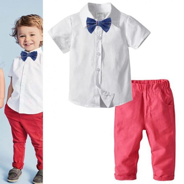 2021 New Kids Short Sleeved Clothes Baby Set Boy Western style outfits Kids chirldren clothing Vendor - PrettyKid