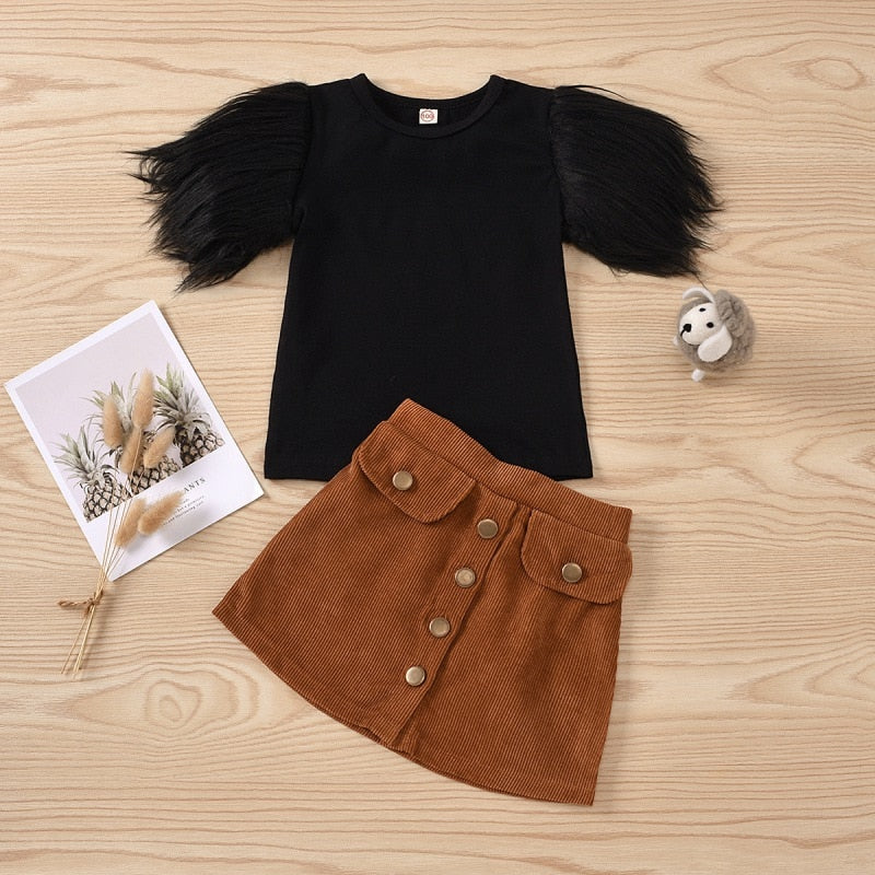 2021 Fashion Casual Set For Baby Chirldren Girls Tops Pant Clothing Suit Short Sleeves Solid Cotton T-shirt Button Skirt - PrettyKid