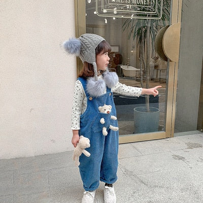 2021 Winter New Kids Overalls Cartoon Bear Corduroy Overall for Baby Girls Boys Cute Plus Velvet Warm Child Jumpsuits