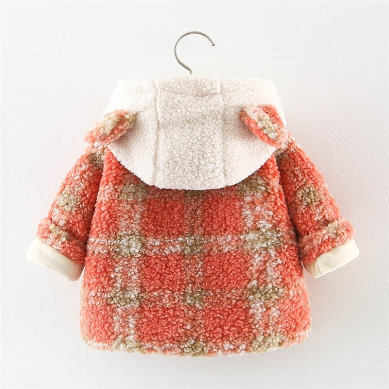Newness Girls Jackets Winter Plaid Coats for Girl Kids Clothing Hooded Newborn Baby Warm Coats Child Clothes 2021 Distributor