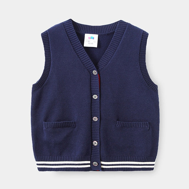 Newness Toddler Boys Knitwear Winter New Kids Fashion V Neck Vest Cardigan Baby Clothes Casual Waistcoat for Boys Supplier