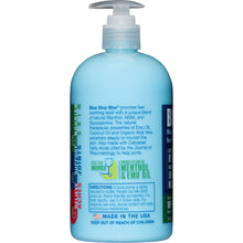 Load image into Gallery viewer, Description and Directions for Blue Stop Max Massage Gel for Body Aches 16 oz pump bottle