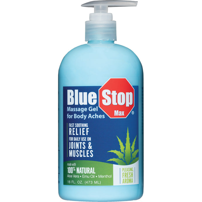 Front image of 16 oz pump bottle Blue Stop Max Massage Gel for Body Aches