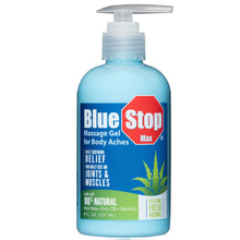 Load image into Gallery viewer, 8 oz pump bottle of Blue Stop Max Massage Gel for Body Aches