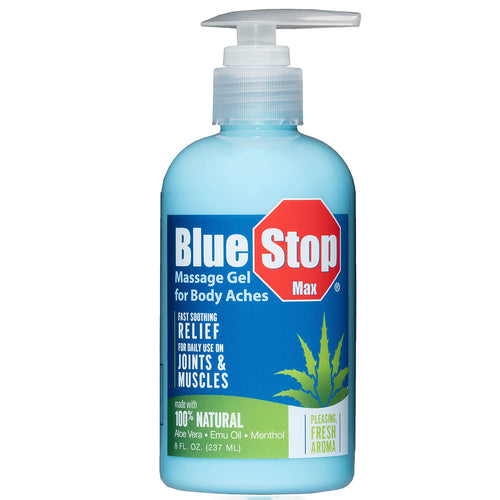 8 oz pump bottle of Blue Stop Max Massage Gel for Body Aches