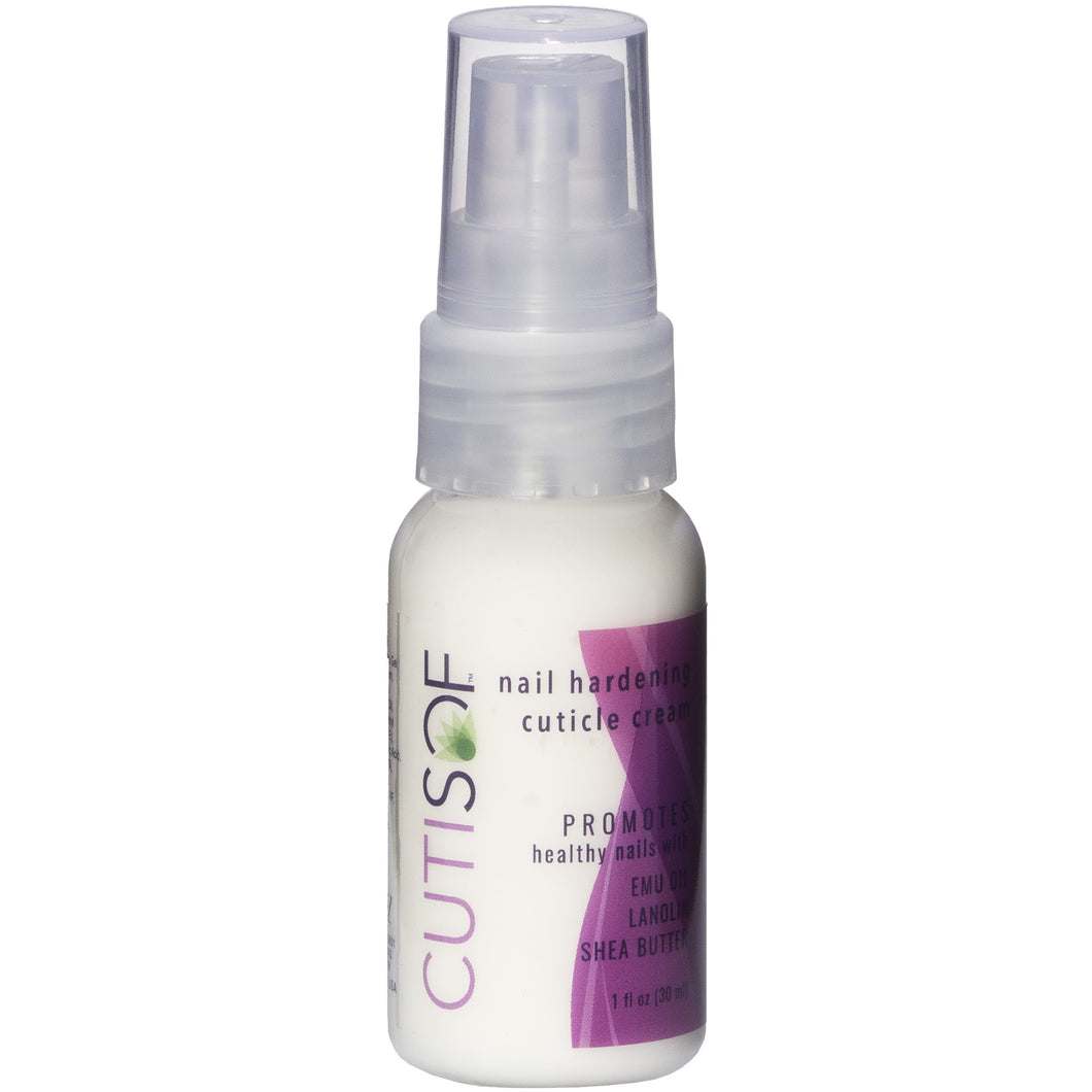 Front Image of 1 oz Pump Bottle CutiSof Nail Hardening Cuticle Cream by Clavel