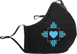 "Adjustable Mask with Turquoise ""Love New Mexico"" Design"