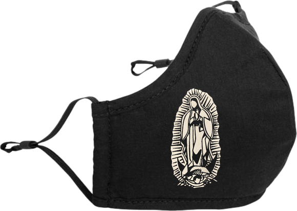 Black Adjustable Face Mask with Our Lady of Guadalupe