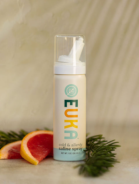 Infused Cold & Allergy Saline Spray with essential oils to moisturize and protect