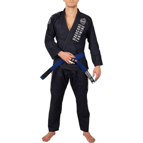 Hardcore Training Denim Gi Brazilian Jiu Jitsu Kimono Men's Navy Blue