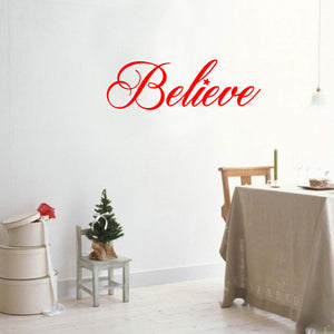 "Chic Holiday Believe Vinyl Wall Art Decal - 12.5"" x 35"" Decoration Vinyl Sticker - Red 660078080405"