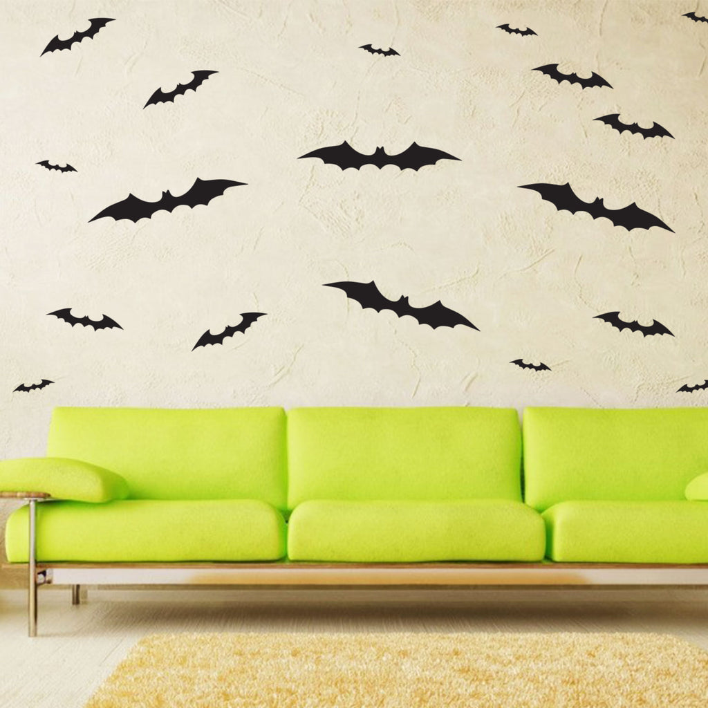 Spooky Black Bat Halloween Wall Art Vinyl Decal Bats Sticker - 48 Pack 660078084694