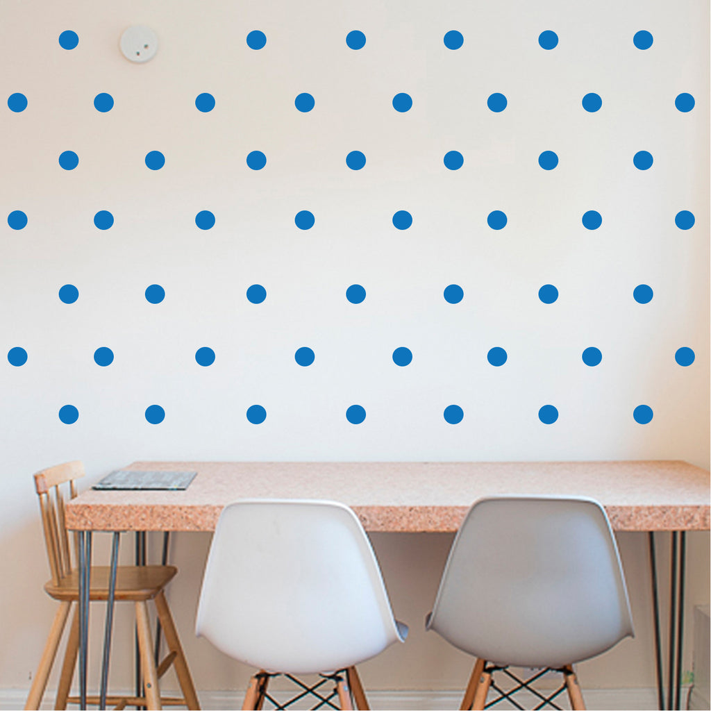 "200 Pack Fun Polka Dots Pattern - Wall Art Decal - 1"" x 1"" - Bedroom Living Room Wall Art Decoration - Peel Off Vinyl Stickers- Apartment Decor - Mix & Match Colors! (1"" x 1"", Blue) 660078089125"