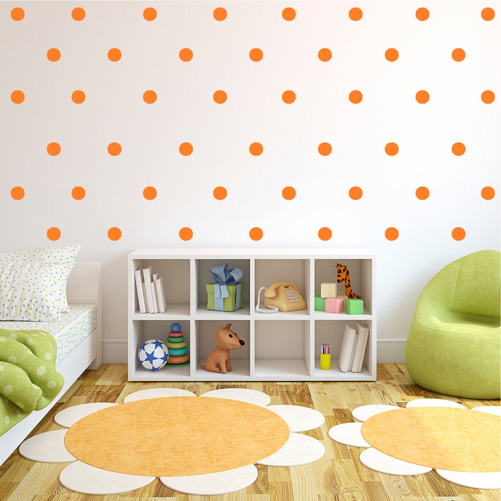 "200 Pack Fun Polka Dots Pattern - Wall Art Decal - 1"" x 1"" - Bedroom Living Room Wall Art Decoration - Peel Off Vinyl Stickers- Apartment Decor - Mix & Match Colors! (1"" x 1"", Orange) 660078089156"