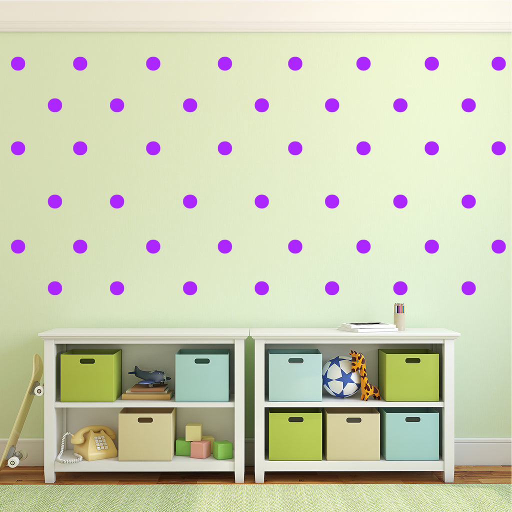 "200 Pack Fun Polka Dots Pattern - Wall Art Decal - 1"" x 1"" - Bedroom Living Room Wall Art Decoration - Peel Off Vinyl Stickers- Apartment Decor - Mix & Match Colors! (1"" x 1"", Purple) 660078089675"