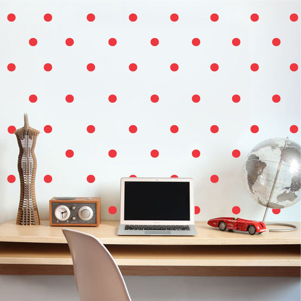 "200 Pack Fun Polka Dots Pattern - Wall Art Decal - 1"" x 1"" - Bedroom Living Room Wall Art Decoration - Peel Off Vinyl Stickers- Apartment Decor - Mix & Match Colors! (1"" x 1"", Red) 660078089118"