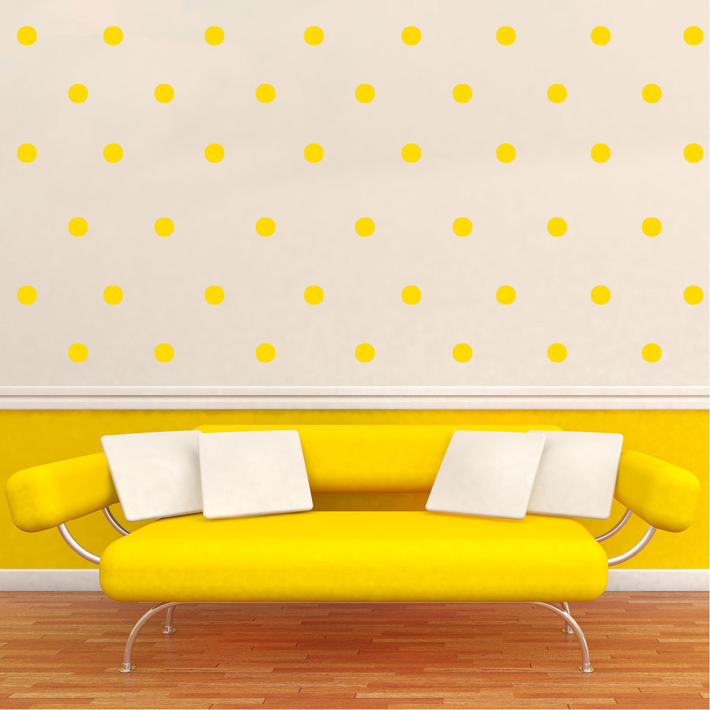 "200 Pack Fun Polka Dots Pattern - Wall Art Decal - 1"" x 1"" - Bedroom Living Room Wall Art Decoration - Peel Off Vinyl Stickers- Apartment Decor - Mix & Match Colors! (1"" x 1"", Yellow) 660078089149"