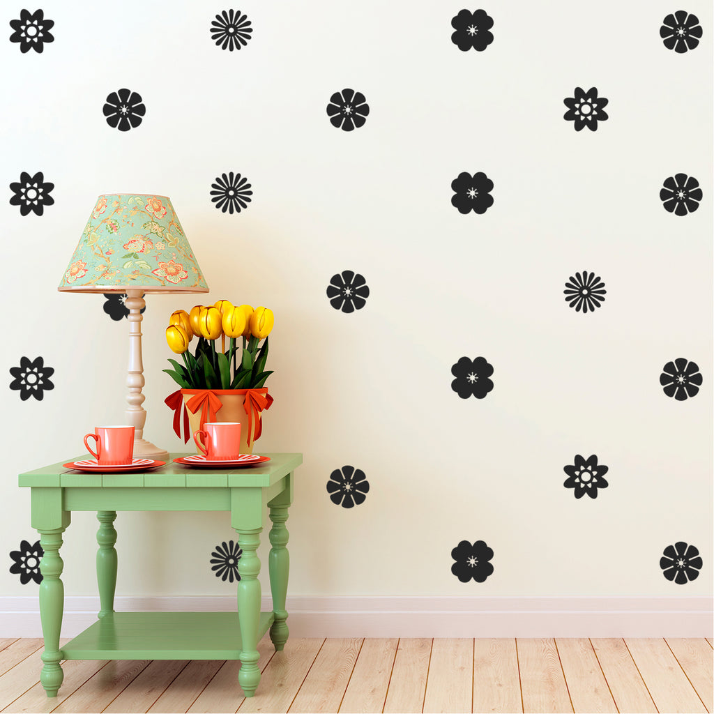 "24 Pack of Beautiful Flowers Vinyl Wall Art Decal - 3"" x 3"" - Bedroom Living Room Wall Decoration - Apartment Vinyl Decal Wall Decor - Kids Room Vinyl Wall Decals - Cute Floral Wall Decor Decals 660078092804"