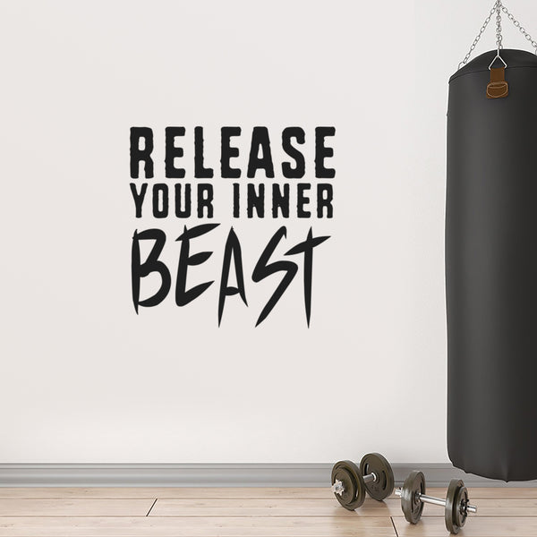 Release Your Inner Beast - Inspirational Gym Quotes Wall Art Vinyl Decal -  20